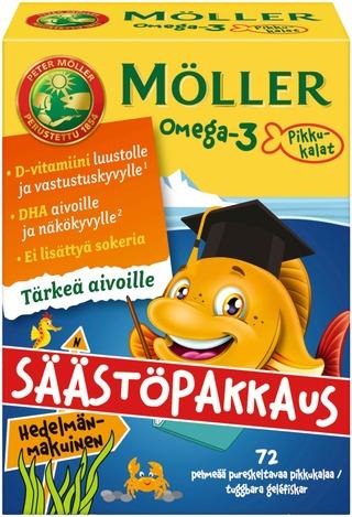 Möller Omega-3 Pikkukalat Säästöpakkaus Hedelmänmakuinen Pehmeä Pureskeltava 72Kpl
