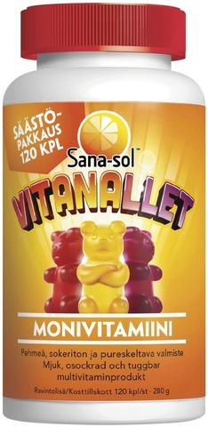 Sana-Sol Vitanallet Vadelman-, Appelsiinin- Ja Mustikanmakuinen Pehmeä, Sokeriton Ja Pureskeltava Monivitamiinivalmiste 120Kpl
