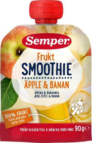 Semper 90G Smoothie Frukt, Omenaa Ja Banaania Lasten Hedelmäsose Alkaen 6 Kk