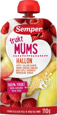 Semper Fruktmums Vadelma 110g, omenaa, vadelmaa ja banaania hedelmäsose alk. 6 kk