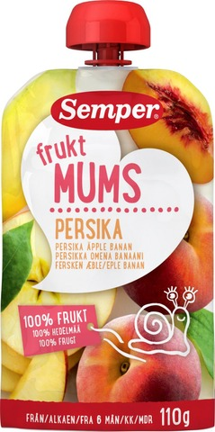 Semper Fruktmums Persikka 110G, Persikkaa, Omenaa Ja Banaania Hedelmäsose Alk. 6 Kk
