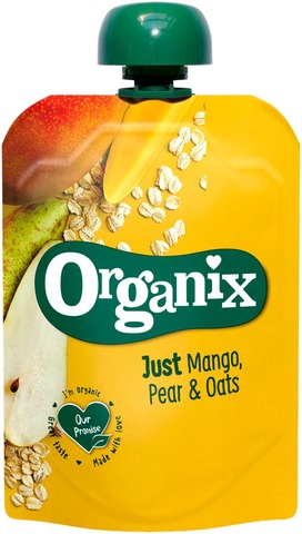 Organix Just Mango, Päärynä & Kaurahiutaleet, 100G  Alkaen 6 Kk, Luomuhedelmäsose
