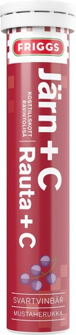 Friggs Rauta+C-Vitamiini Mustaherukan Makuinen Poretabletti 20Kpl