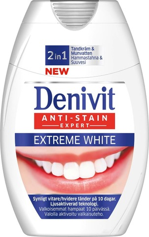Denivit 75Ml 2In1 Extreme White Hammastahna + Suuvesi