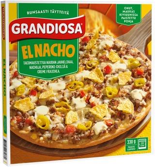 Grandiosa El Nacho Kiviuunipizza, Jauhelihaa, Crème Fraichea, Nacholastuja Ja Peperoni-Chiliä 330G