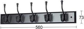 Habo vaatenaulakko Retro 5-koukkuinen musta