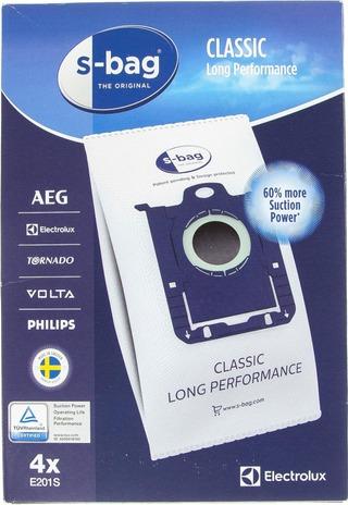 Electrolux s-bag pölypussi E201S 4kpl Classic Long Performance