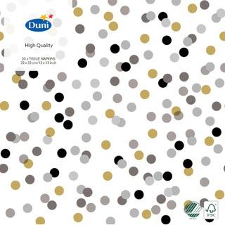 Duni 20Kpl 33Cm 3-Krs Dream Dots Musta Lautasliina