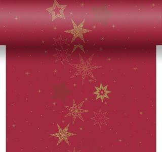 Duni Dunicel 0,4x4,8m Star Stories punainen perforoitu poikkiliina