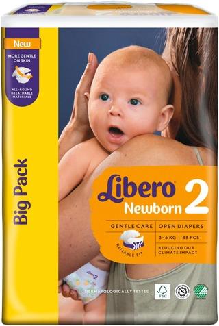 Libero Newborn 88Kpl Koko 2, 3-6Kg Teippivaippa