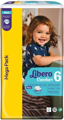 Libero Comfort Teippivaippa Koko 6, 13-20 Kg, 70 Kpl