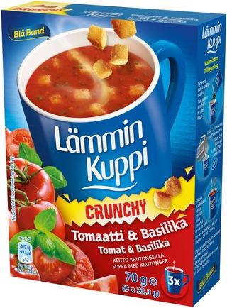 Blå Band Lämmin Kuppi Crunchy Laktoositon Tomaatti-Basilikakeitto  Krutongeilla 3X23g