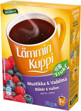Blå Band Lämmin Kuppi Frukt Mustikka-Vadelmakeitto 3X26g