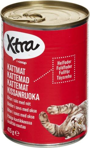 X-tra Kissanruoka paloja kastikkeessa, sisältää nautaa, 415 g