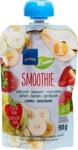 Rainbow 90G Smoothie Päärynä-Banaani-Mansikka, Luomu