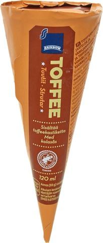 Rainbow Toffeen- Ja Vaniljanmakuista Jäätelöä, Toffeekastiketta 15% Ja Suklaanmakuista Kuorrutetta 7% Vohvelissa 16% 120Ml/69G