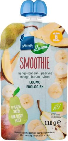 Rainbow 110G Smoothie 6Kk Mango-Banaani-Päärynä, Luomu