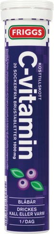 Friggs 1000Mg C-Vitamiini Mustikka Poretabletti 20Kpl