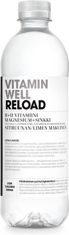 500Ml Vitamin Well Reload, Sitruunan & Limen Makuinen, Vitaminoitu Hiilihapoton Juoma