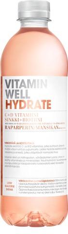 500Ml Vitamin Well Hydrate, Raparperilla Ja Mansikalla  Maustettu Hiilihapoton Juoma