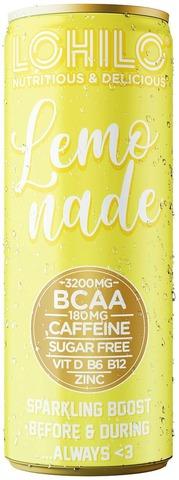 Lohilo sitruunanmakuinen BCAA-aminohappoja sisältävä sokeriton hiilihapotettu energiajuoma 330ml