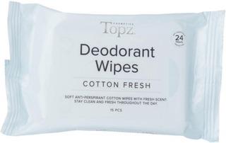 Topz 15 Pcs Cotton Fresh Deodorantti Wipe