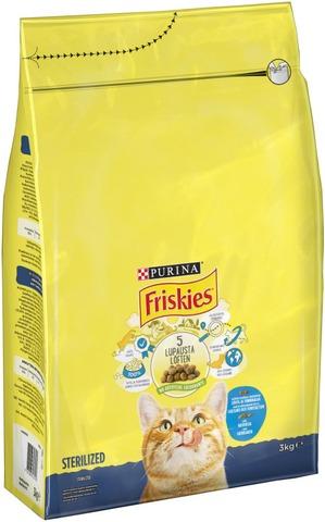 Friskies 3kg Sterilised Cats lohta ja kasviksia kissanruoka