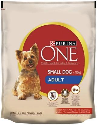 Purina One 800G Small Dog <10Kg Adult Runsaasti Nautaa Koiranruoka Sisältää Riisiä