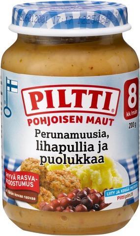 Piltti Pohjoisen maut 190g Perunamuusia lihapullia ja puolukkaa lastenateria 8kk