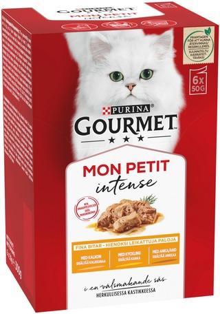 Gourmet 6x50g Mon Petit Sisältää Ankkaa, Kanaa ja Kalkkunaa lajitelma 3 varianttia kissanruoka