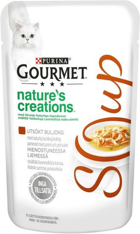 Gourmet 40g Nature's Creations Luonnollista kanaa, kalaa ja kasviksia sisältävä hienostunut liemi kissalle