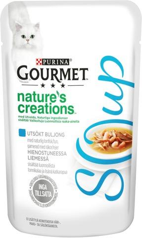 Gourmet 40g Nature's Creations Luonnollista tonnikalaa ja katkarapuja sisältävä hienostunut liemi kissalle