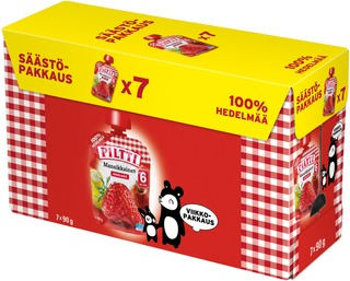 Piltti 7X90g Mansikkainen 100 % Hedelmää Omenaa, Banaania, Mansikkaa 6Kk Annospussi