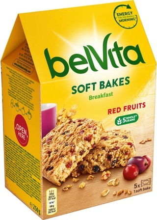 Belvita Soft Bakes Red Berries Välipalakeksi 250G