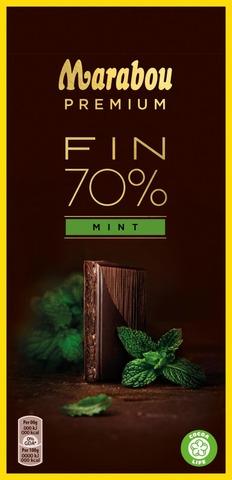 Marabou Premium 100g Fin 70% Mint suklaalevy