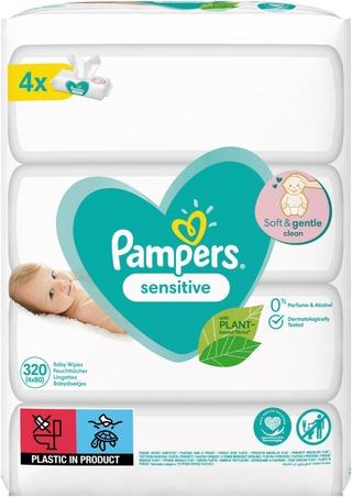Pampers 320Kpl Sensitive Baby Wipes Puhdistuspyyhe