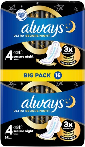 Always 16Kpl Ultra Secure Night 4 With Wings Terveysside
