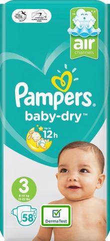Pampers 58kpl Baby Dry S3 6-10kg vaippa