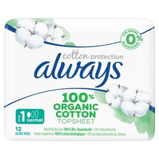 Always Cotton Protection Normal S1 Siivekkeillä 12Kpl Terveysside