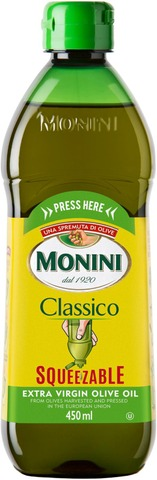 Monini Classico Squeezable  Extra Virgin -ekstra-neitsytoliiviöljy 450 ml