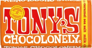 Tony's Chocolonely 180G Milk Caramel Sea Salt Maitosuklaalevy, Reilu Kauppa