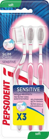 Pepsodent Hammasharja Slim Care Sensitive Soft 3 Pc
