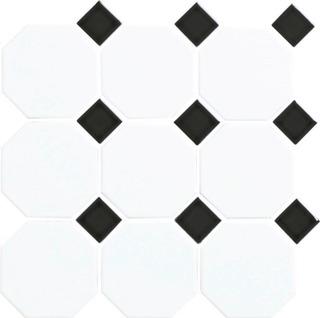 Art Octagon 9.77X9.77 Verk.valk/Musta Lasitettu Laatta