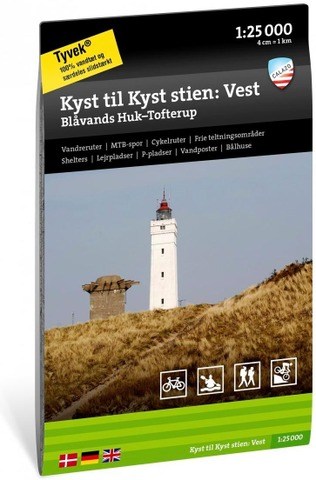 Kyst Til Kyst Stien: Vest – Blåvands Huk – Tofterup -Retkeilykartta